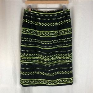 J. Crew Glow Stripe Pencil Skirt 10